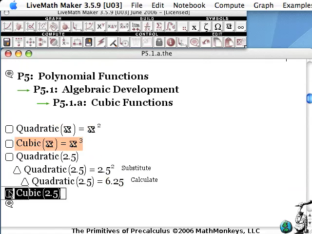 video screenshot cubic function livemath