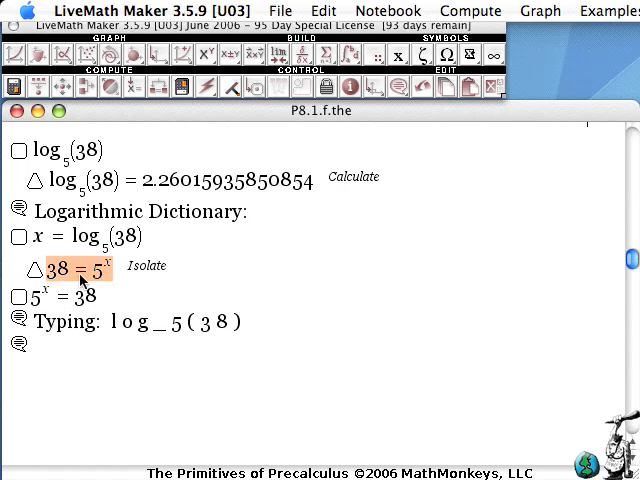video screenshot exponential logarithm function livemath